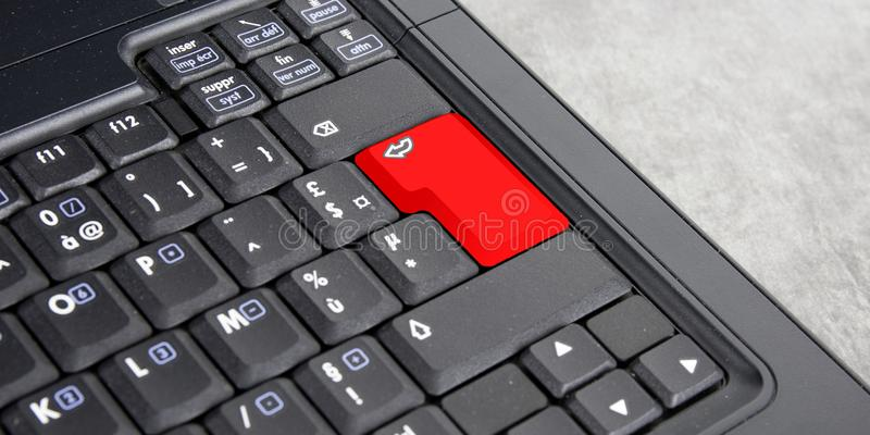 Red blank Enter button on the keyboard. Close-up royalty free stock images