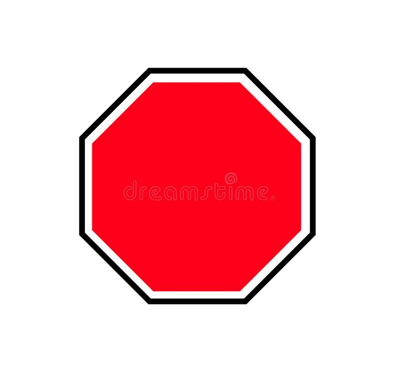 red blank octagon traffic sign plate stock vector illustration of