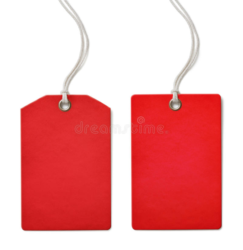 Red blank paper price or sale tag set isolated. On white stock images
