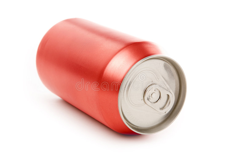 Red blank soda can. Blank soda can with white background stock photos