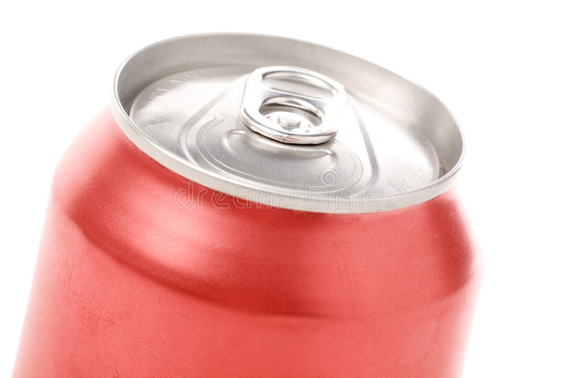Red blank soda can. Blank soda can with white background stock images