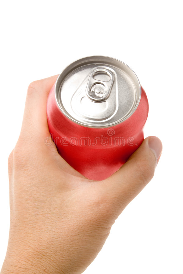 Red blank soda can. Blank soda can with white background royalty free stock photography