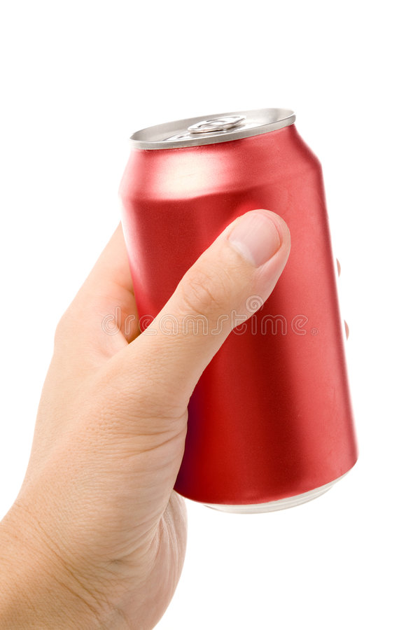 Red blank soda can. Blank soda can with white background stock photo