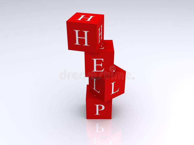 Red block spelling word help. Close up of red building blocks spelling word, help, studio background stock illustration