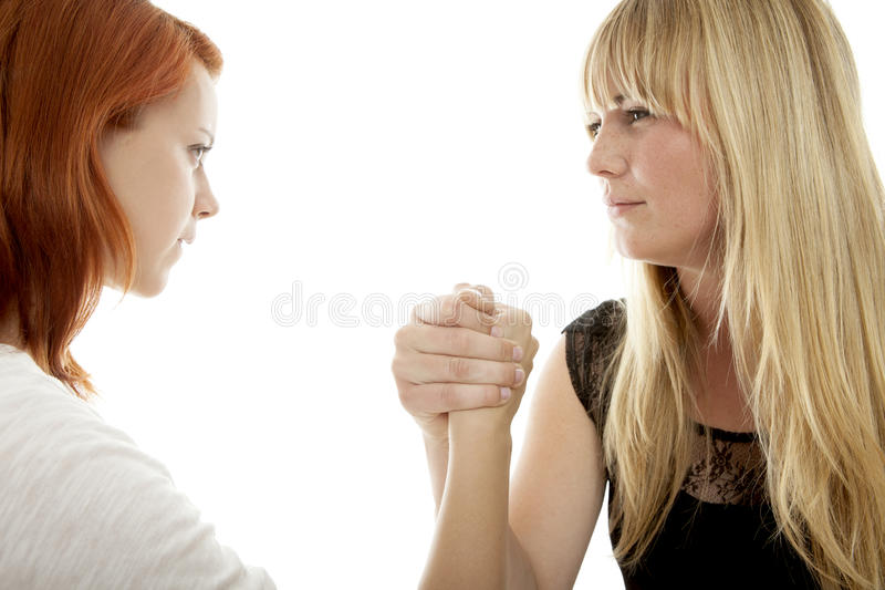 Download Red And Blond Haired Girls Concept Power Stock Photo - Image of confrontation, gesture: 26554884