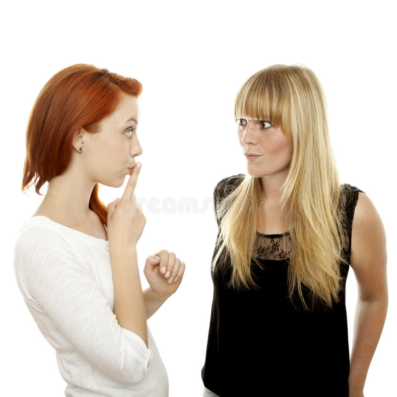 Download Red And Blond Haired Girls Finger Mouth Secret Stock Photo - Image: 26554922