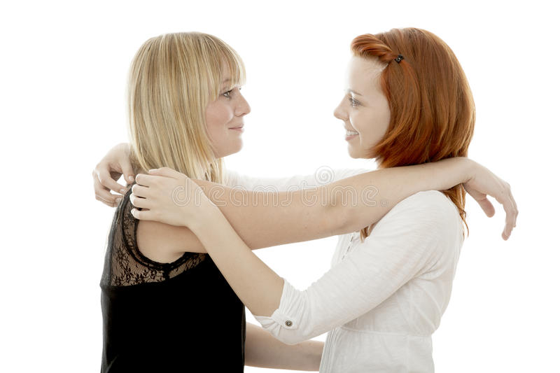Download Red And Blond Haired Girls Are Happy Together Stock Photo - Image of friends, enjoy: 26554754