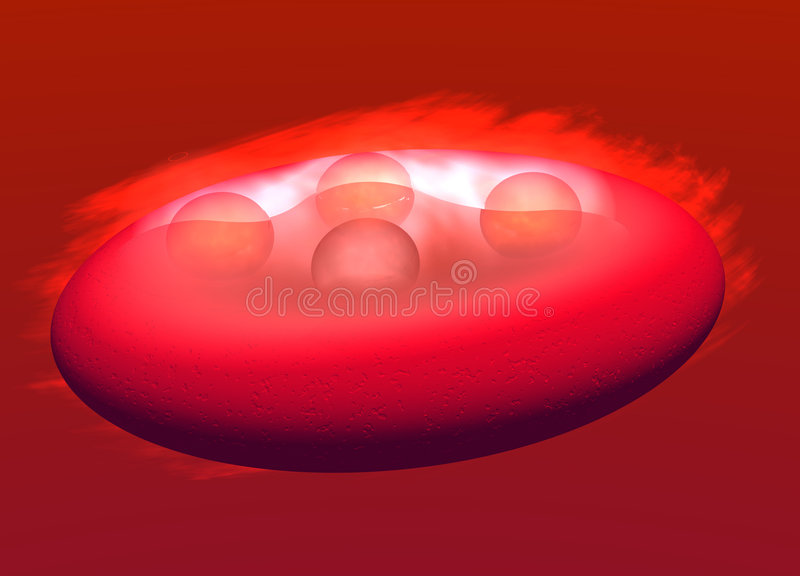 Red Blood Cell Carrying Oxygen. 3d Red Blood Cell Carrying Oxygen particles Through the Bloodstream with Cloud around it vector illustration
