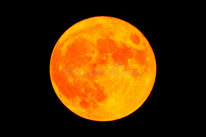 Red blood moon Full moon. Red blood moon over the dark black sky at night. High resolution image shot in 2015 stock photo