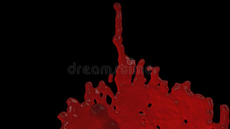 Red blood splash on black - 3d abstraction, terrible background, 3d computer generated illustration stock image