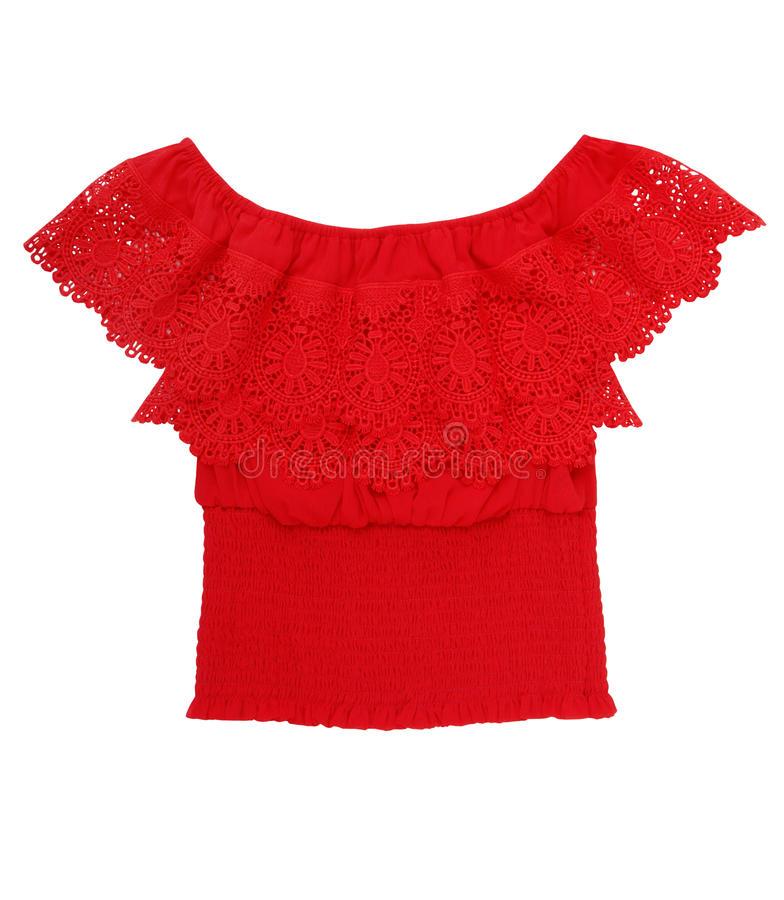Red blouse is in folk style, lacy, female, beautiful top stock images