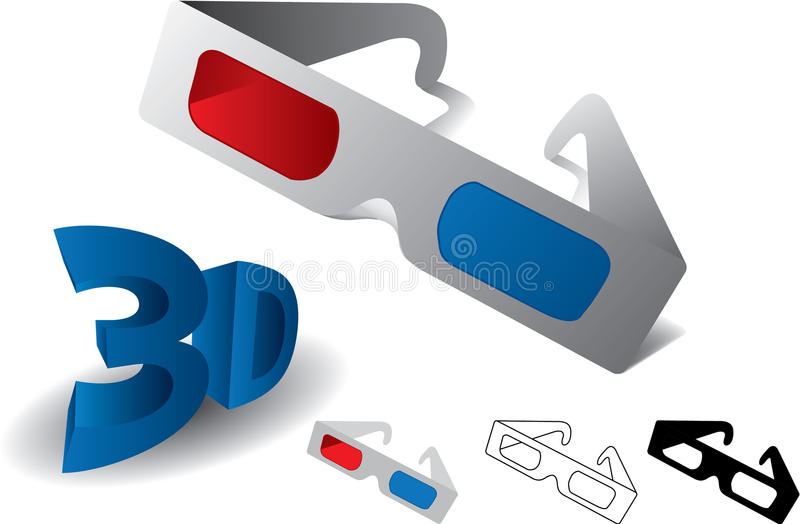 Red blue 3d anaglyph glasses. With 3d letters vector illustration