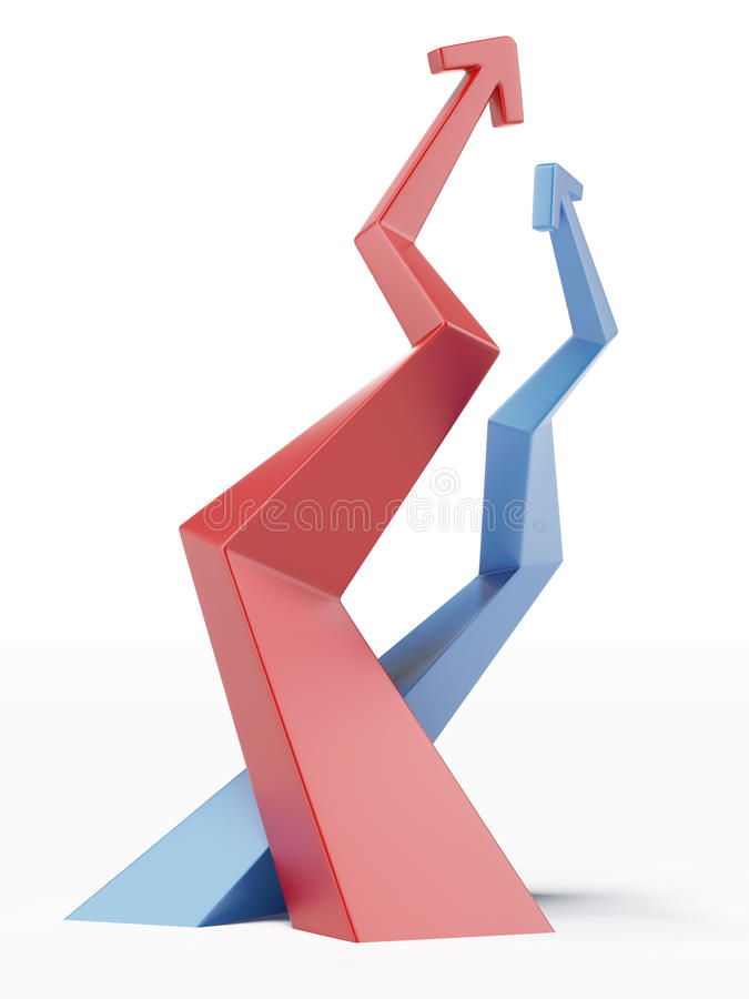 Red And Blue Ascending Arrows Royalty Free Stock Photography