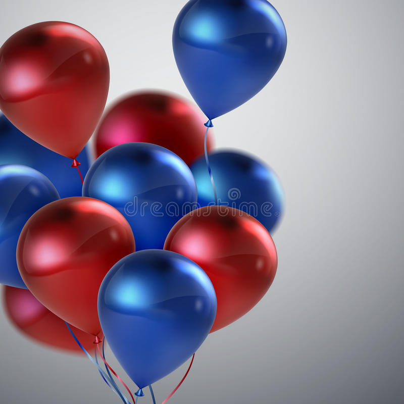 Red And Blue Balloon Bunch. vector illustration