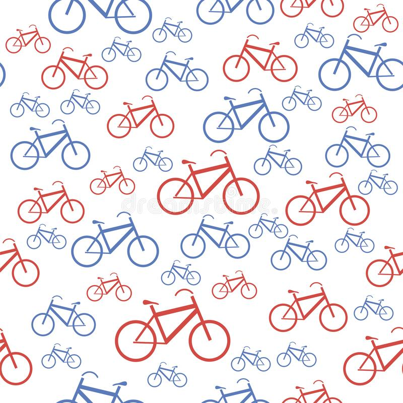 Red Blue Bicycle Silhouette Seamless Pattern. On White Background stock illustration
