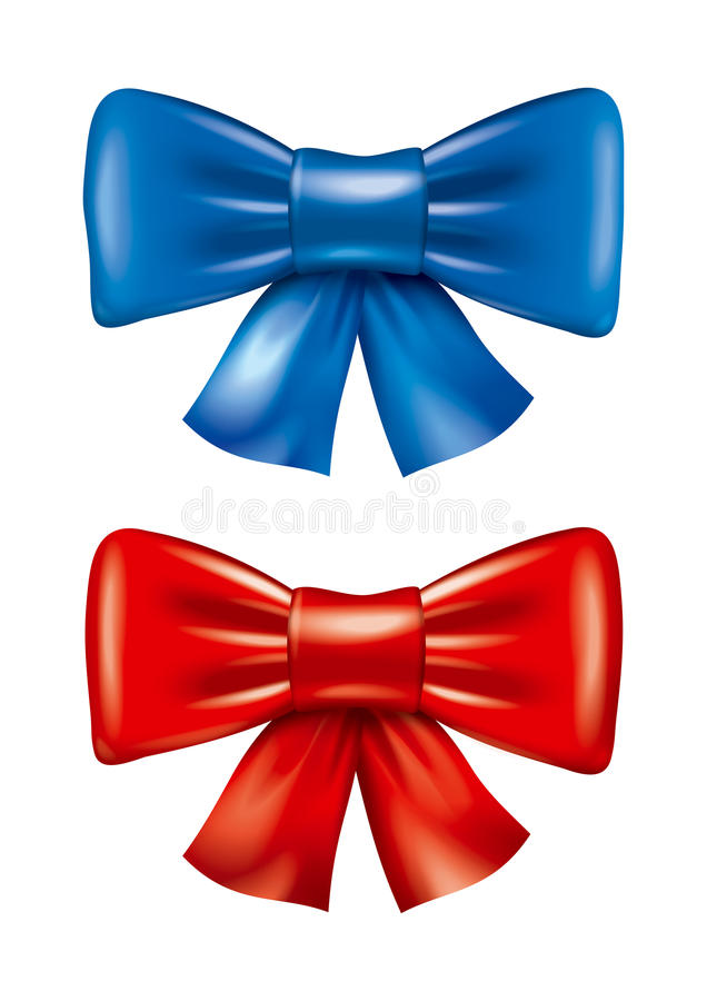 Red and blue bow illustration stock photos