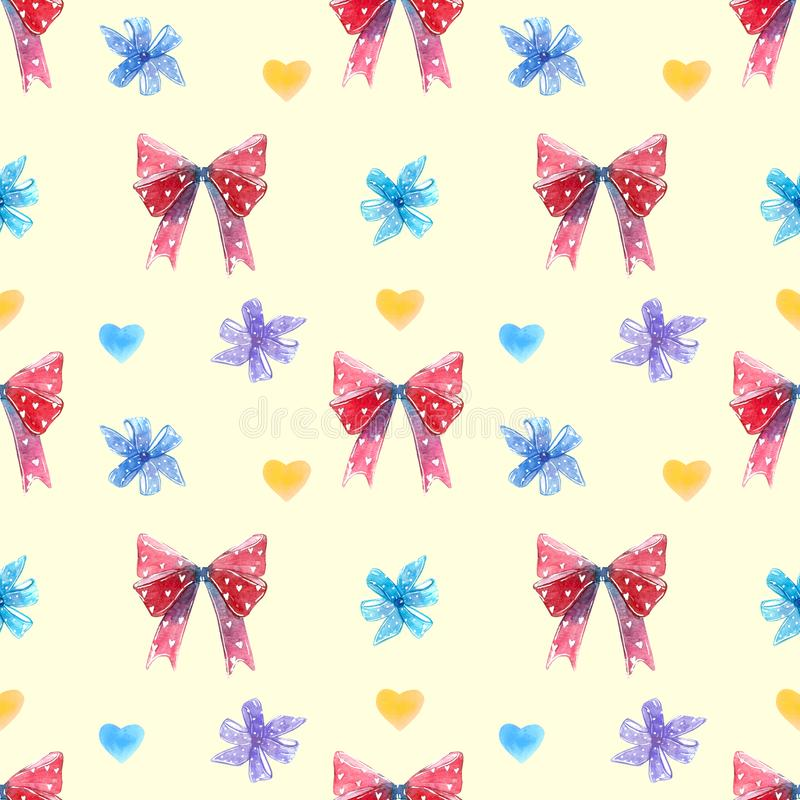 Red and blue bows, swirl lollipop sucker with hearts seamless pattern stock image