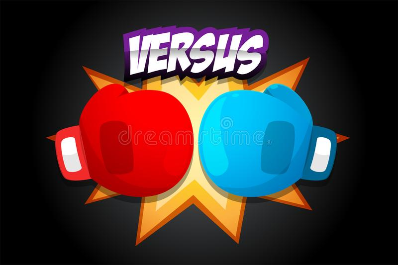 Red and Blue Boxing Gloves on dark background royalty free illustration