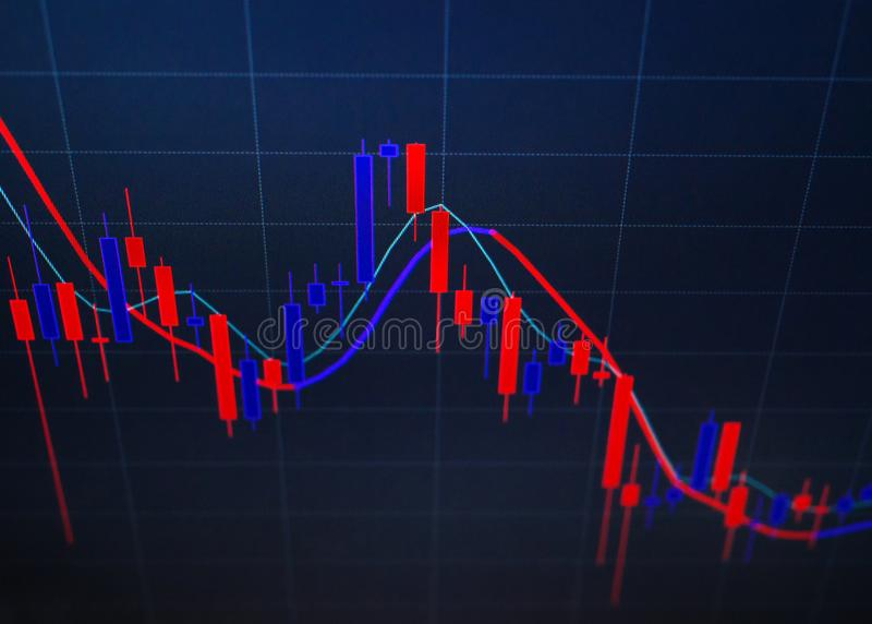 Red and blue candlestick chart, close-up stock images