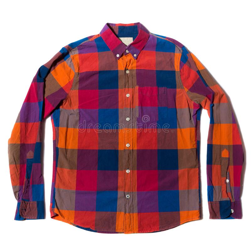 Red Blue checked button down casual shirt. On white background royalty free stock images