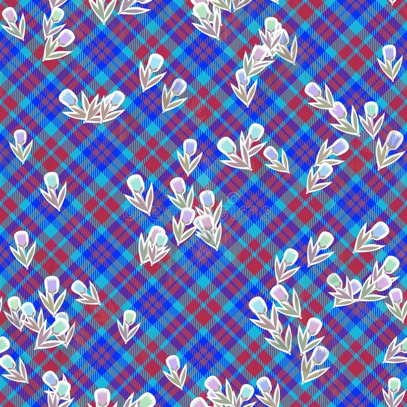 Red blue checkered seamless design with stylized tulip flowers. Red blue checkered seamless tartan design with stylized tulip flowers looks good on a washable stock illustration