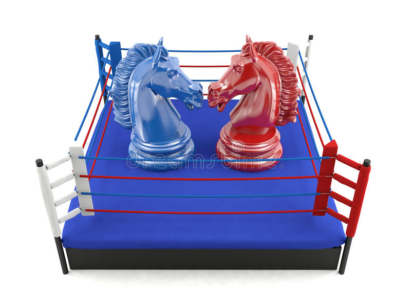Red and blue chess knight confronting in boxing ring. Strategic competition concept royalty free stock image