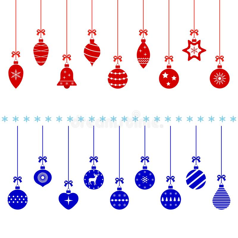 Red and blue christmas balls on white background stock image