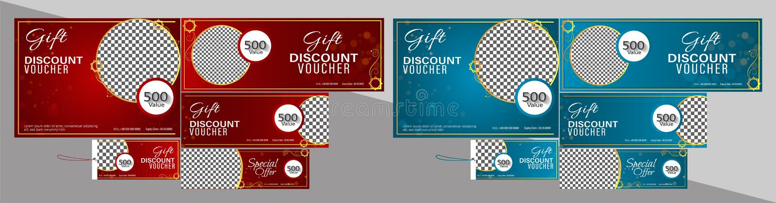 Red and blue color discount voucher or coupon set. vector illustration