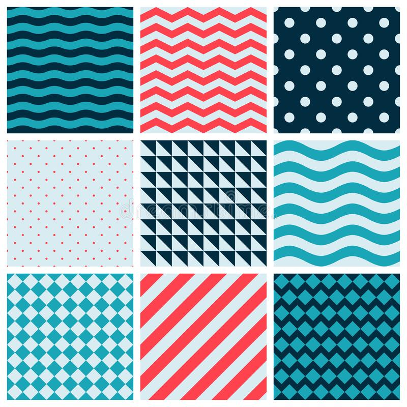Red Blue Colorful Wave Vector Abstract Geometric Seamless Pattern Design Collection Decoration Web. Background vector illustration