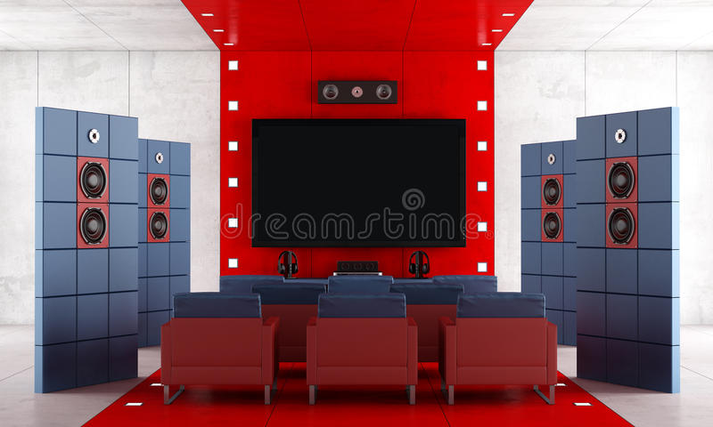 Red and blue contemporary home theater stock illustration