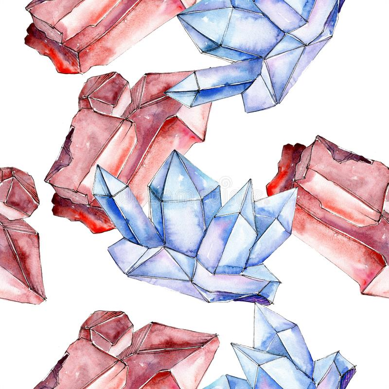 Red and blue crystal mineral. Seamless background for print texture. Watercolor geometric polygon crystal stone. vector illustration