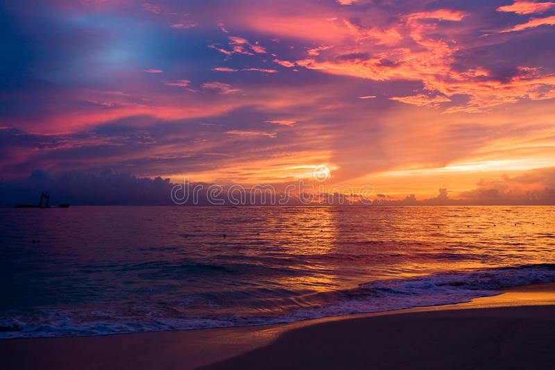 Download Red Blue Dark Sky In The Morning Beach Stock Image - Image: 9419565