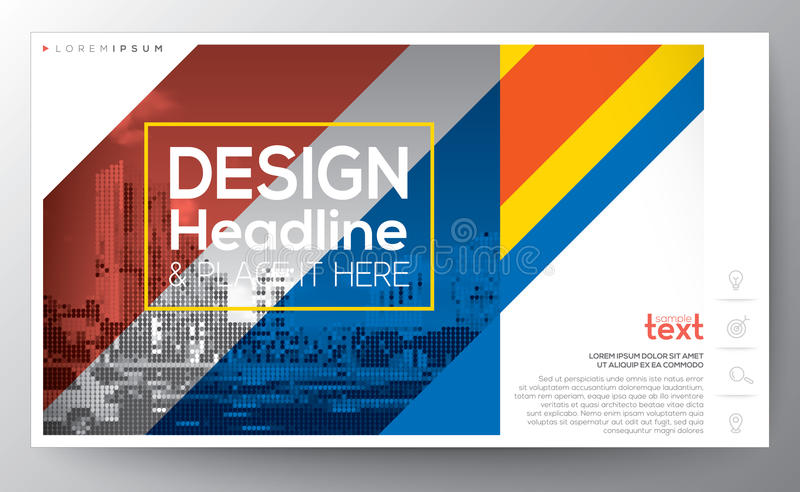 Red and blue diagonal banding line modern design Layout template vector illustration