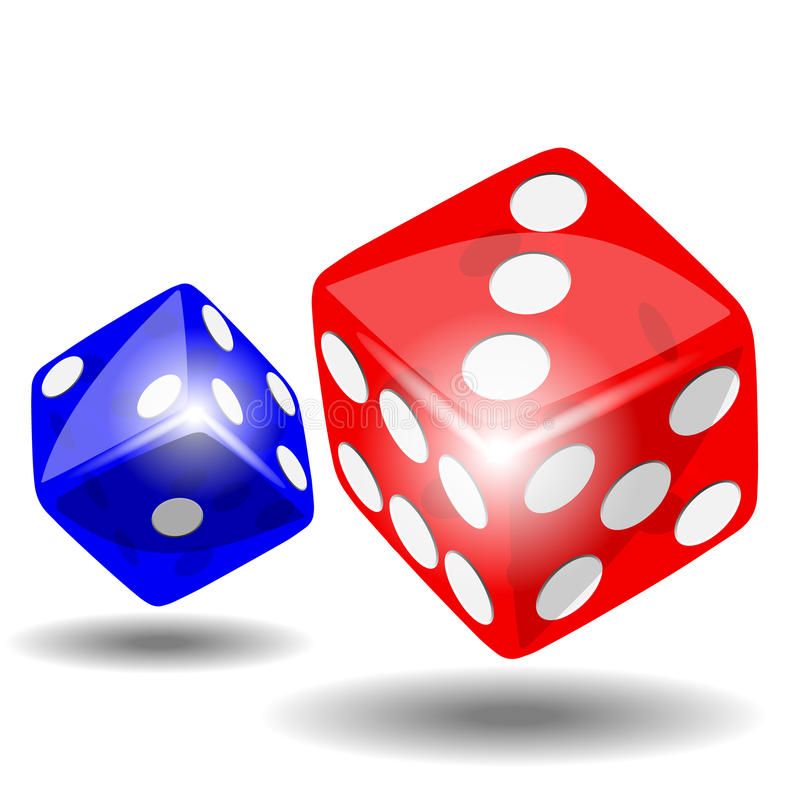 Red and blue dice. With shadow on white background illustration vector stock illustration