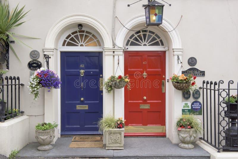 Red and blue door, Ireland stock image