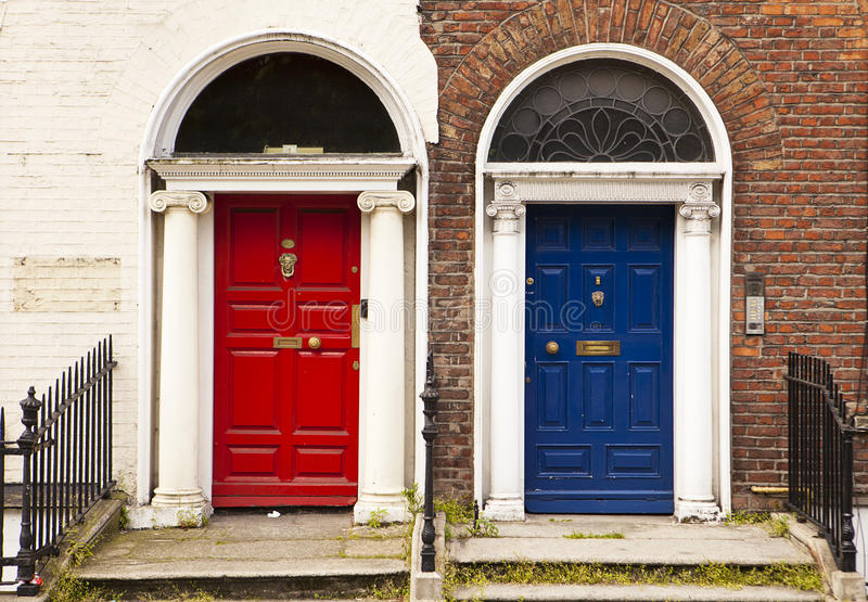 Red and Blue Doors stock photography