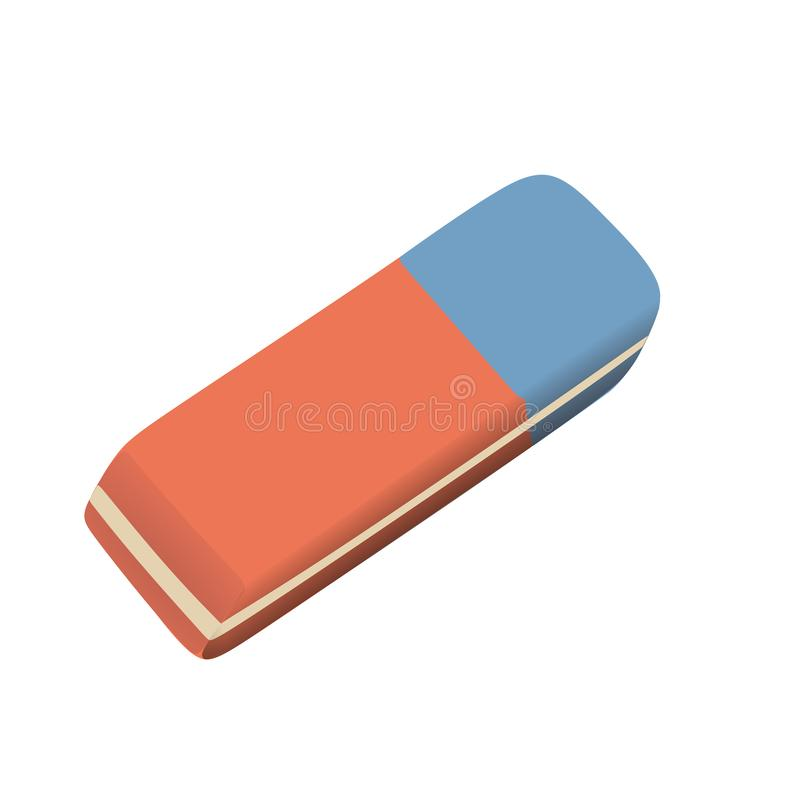 Red and blue eraser vector royalty free illustration