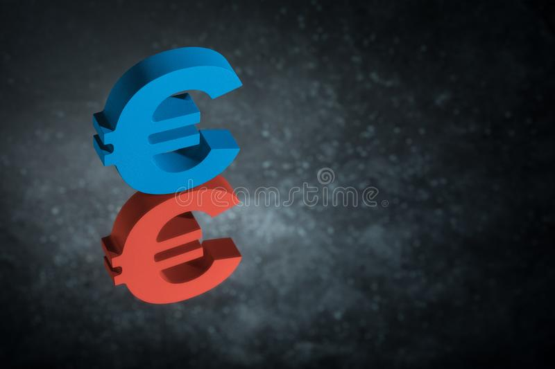 Red and Blue EU Currency Symbol or Sign With Mirror Reflection on Dark Dusty Background royalty free stock photo