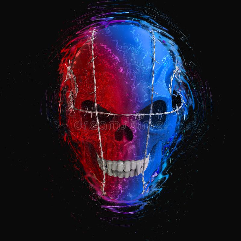 Red and blue evil vampire skull bound with barb wire. Isolated on black background royalty free illustration
