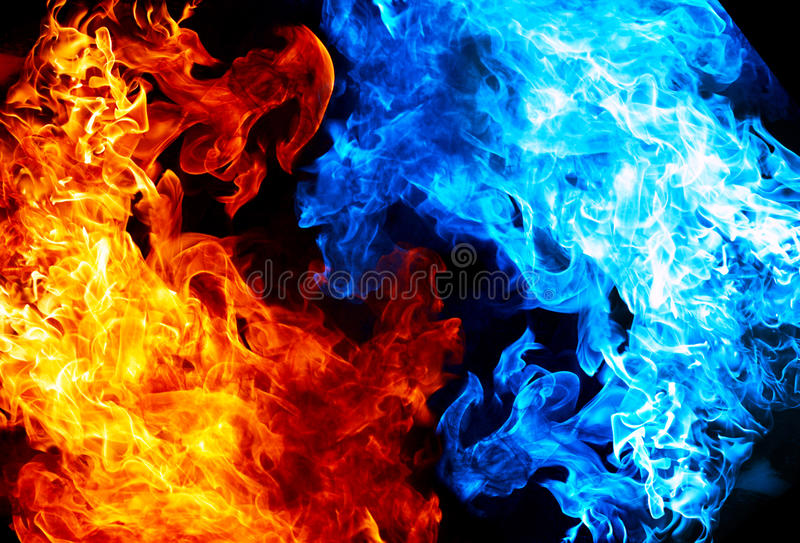 Red and blue fire stock photo