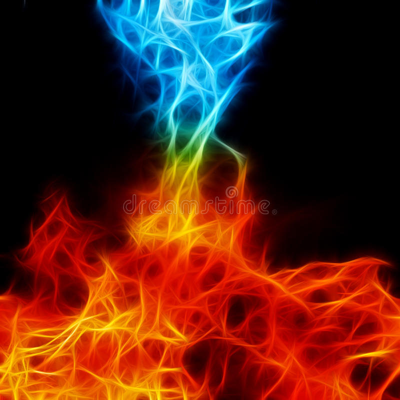 Red and blue fire on balck background, fractal. Image stock photography