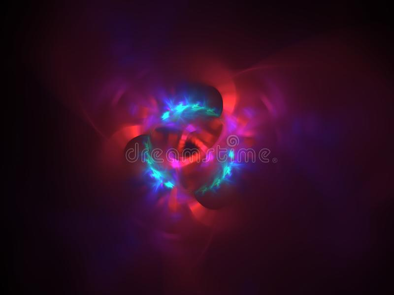 Red and blue fire flower abstract background stock image