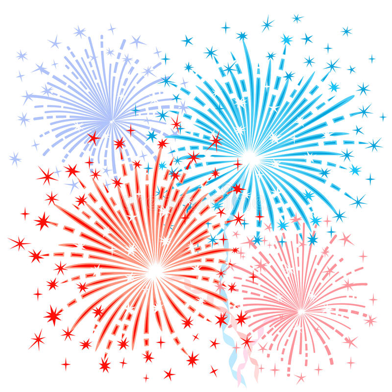 Free Red Blue Fireworks Stock Images - 49561134