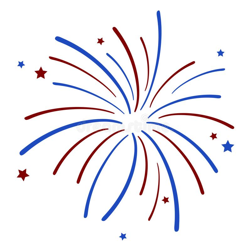 Fireworks and Stars. Red and blue fireworks and stars isolated on white background royalty free illustration