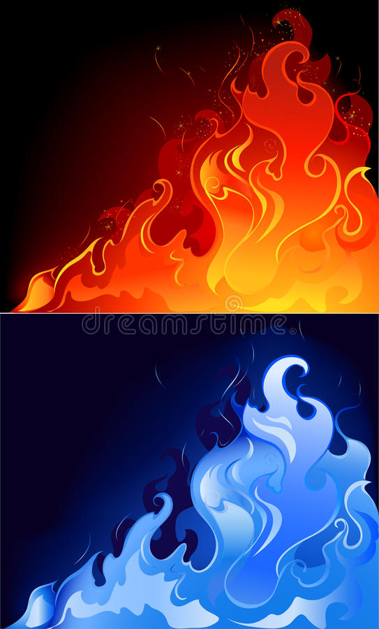 Red and blue flames. Artistically painted red and blue, the gas flame in the dark luminous background stock illustration
