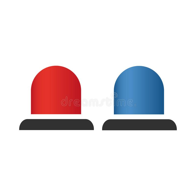 Red and blue flashing light cartoon for Police, ambulance, or Firefighters siren sign. Flat design style. Emergency vehicle vector illustration