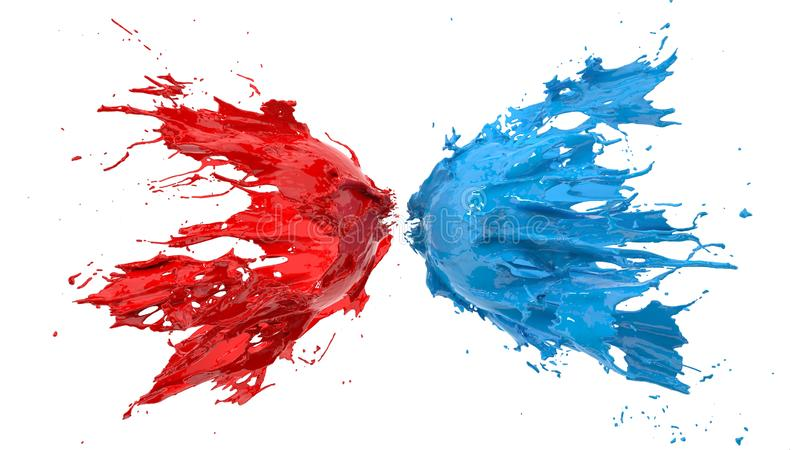 Red and blue fluid splash on white background. 3d illustration. Red and blue fluid splash on white background. suitable for fluid, color and paint themes. 3d stock illustration