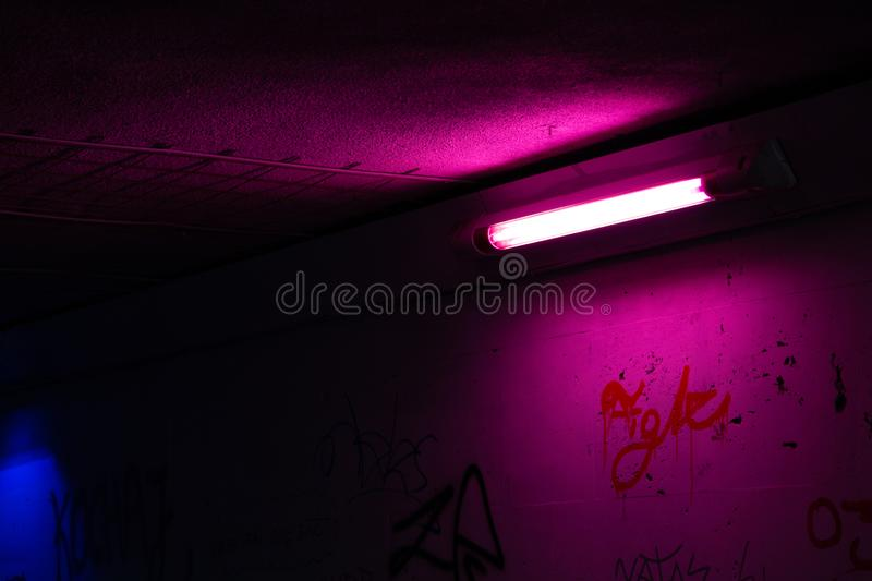 Fluorescent tube in the tunnel royalty free stock photography