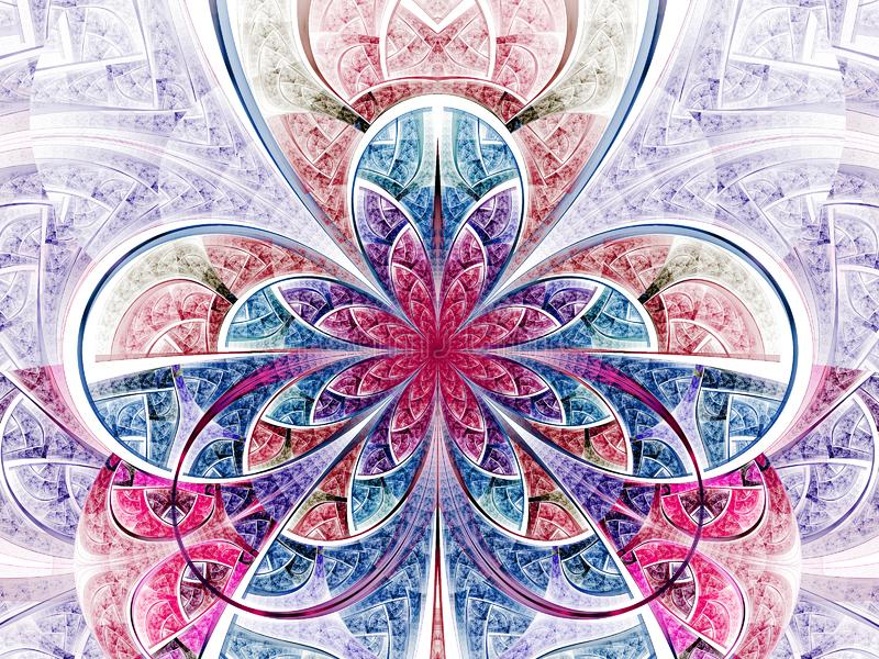 Red and blue fractal flower. Digital artwork for creative graphic design stock illustration