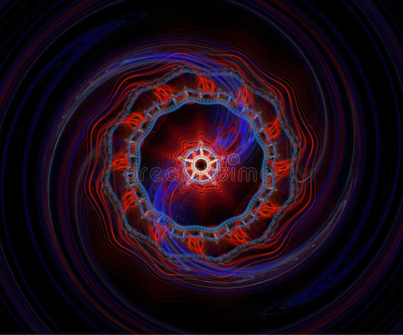 Red And Blue Fractal Spiral. Red and blue colors dominant vector illustration